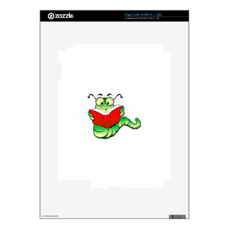Green Bookworm with Glasses Reading a Red Book Decal For iPad 2