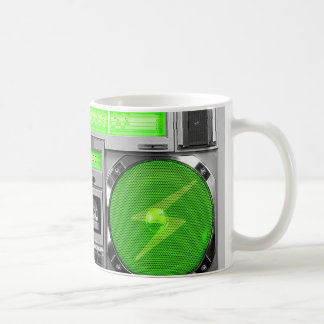 Green boombox coffee mug