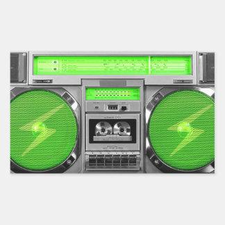 Green boombox rectangular sticker