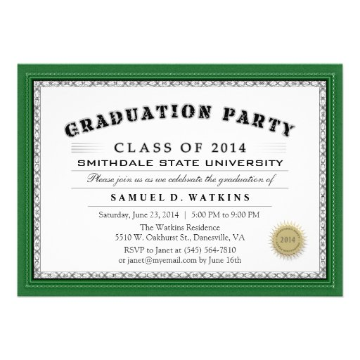 Green Border 2014 Diploma Graduation Party Invite