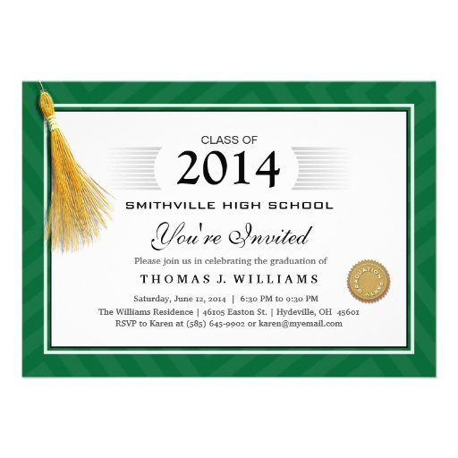 Green Border Diploma with Tassel Graduation Invite