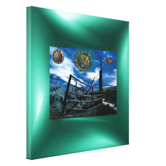Green border on UFO fence Canvas Print