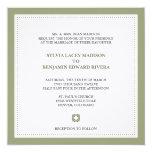 """Green border square traditional wedding invitation 5.25"""" square invitation card"""