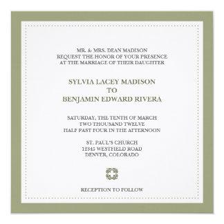 Green border square traditional wedding invitation