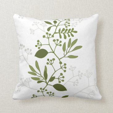 Beach Themed Green botanical leaves throw pillow