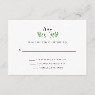 Green Botanical Leaves Wedding Response