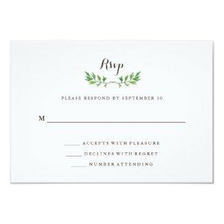 Green Botanical Leaves Wedding Response Card