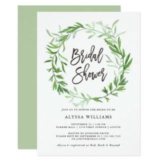 Green Botanical Leaves Wreath Bridal Shower Card
