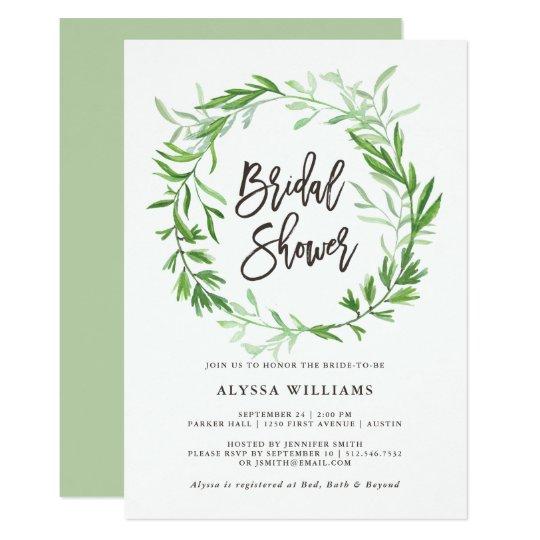 Green Botanical Leaves Wreath Bridal Shower Card | Zazzle.com
