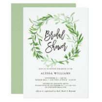 Green Botanical Leaves Wreath Bridal Shower Invitation