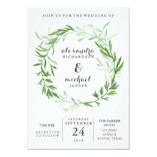 Greenery Wedding Invitation with Watercolor Wreath