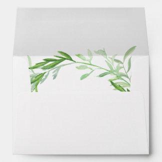 Green Botanical Leaves Wreath Wedding Envelope