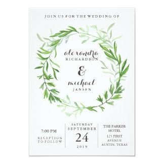 Green Botanical Leaves Wreath Wedding Invitation