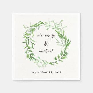 Green Botanical Leaves Wreath Wedding Paper Napkin