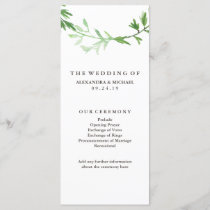 Green Botanical Leaves Wreath Wedding Program