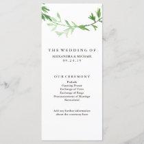 Green Botanical Leaves Wreath Wedding Program