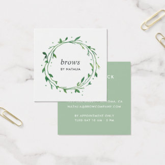 Green Botanical Wreath Square Business Card