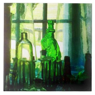 Green Bottles on Windowsill Tile