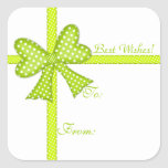 Green Bow and Ribbon Gift Tag Sticker
