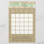 """Green Bow and Vintage Lace Shower Bingo<br><div class=""""desc"""">The warm inviting look of burlap with a neutral soft green ribbon and lace printed bingo card design for a fun shower game to compliment any rustic,  country style baby shower or wedding shower.</div>"""
