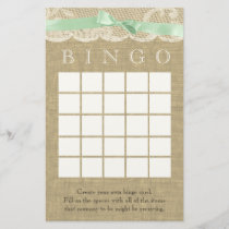 Green Bow and Vintage Lace Shower Bingo