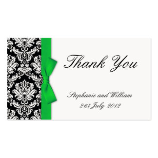 Green Bow Damask Wedding Thank You Cards Business Card