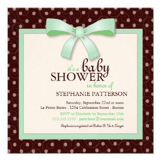 Green Bow Polka Dot Neutral Baby Shower Invitation