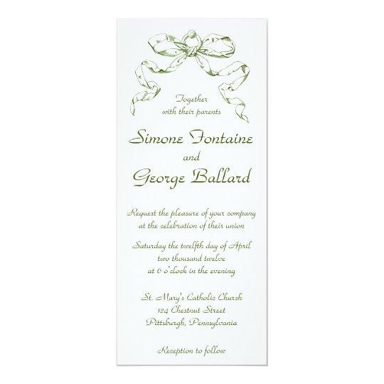 Green Bow Swag Wedding Invitation