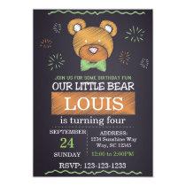 Green Bow Tie Bear Birthday Invite