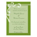 Green Bow Wedding Invitation