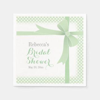 Green Bow & White Dots Bridal Shower Disposable Napkin