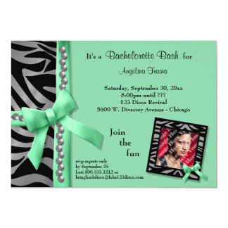 Green Bow With Silver Pearls And Zebra Stripes 5x7 Paper Invitation Card