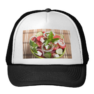 Green bowl of tasty and useful food for raw foodis trucker hat