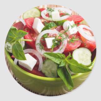 Green bowl with tasty and wholesome vegetarian classic round sticker