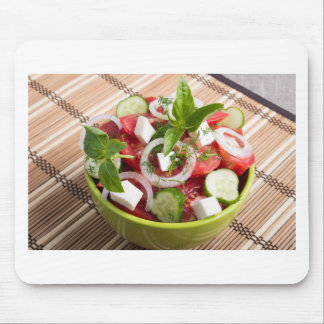 Green bowl with tasty and wholesome vegetarian mouse pad
