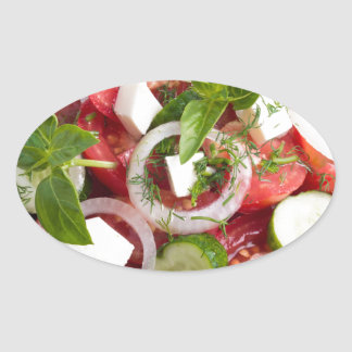 Green bowl with tasty and wholesome vegetarian oval sticker