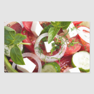 Green bowl with tasty and wholesome vegetarian rectangular sticker