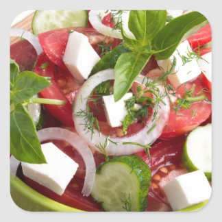 Green bowl with tasty and wholesome vegetarian square sticker