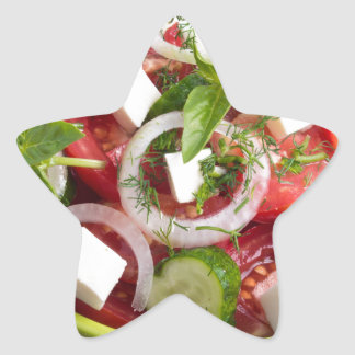 Green bowl with tasty and wholesome vegetarian star sticker