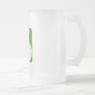 Green Bowling 16 Oz Frosted Glass Beer Mug