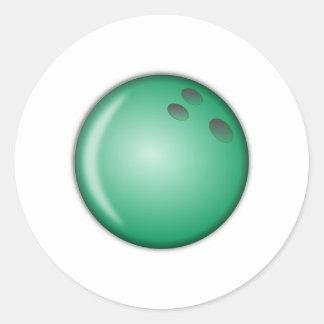 Green Bowling Ball Classic Round Sticker