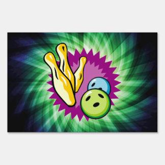 Green Bowling Ball; Pins Lawn Sign