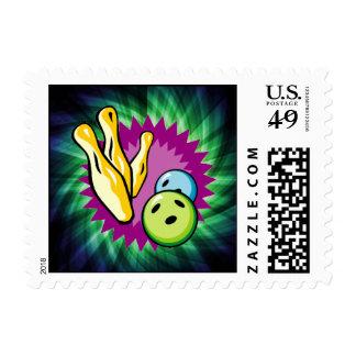 Green Bowling Ball; Pins Stamp