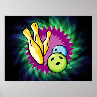 Green Bowling Ball; Pins Poster