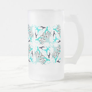 Green Boxerdogs Frosted Glass Beer Mug