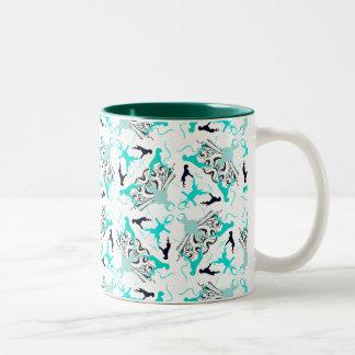 Green Boxerdogs Two-Tone Coffee Mug