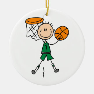 Green Boy Basketball Player t-shirts and Gifts Ceramic Ornament