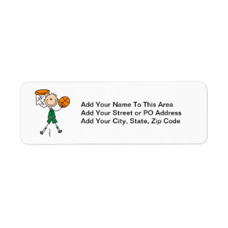 Green Boy Basketball Player t-shirts and Gifts Return Address Label
