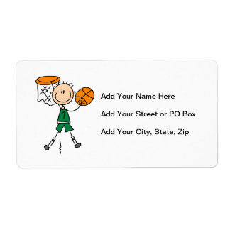 Green Boy Basketball Player t-shirts and Gifts Shipping Label