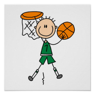 Green Boy Basketball Player t-shirts and Gifts Poster